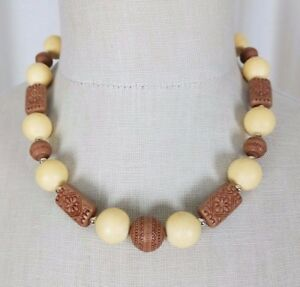 Ethnic Tribal Wood Bone Look Etched Large Beads Beaded Necklace Princess Choker