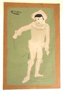 """PICASSO""Pablo Picasso White Clown Serigraph ""Le Petit Pierrot"" signed"