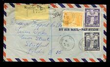 BRITISH GUIANA 1949 KG6 REGISTERED AIRMAIL 48c + 36c + 2c