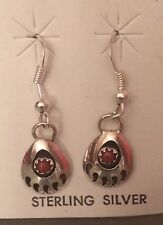 Navajo Native American Red Coral Bear Paw Earrings with Free Shipping