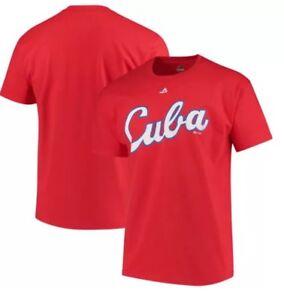 CUBA WORLD BASEBALL CLASSIC TEE WORDMARK RED T-SHIRT MAJESTIC YULIESKI GURRIEL