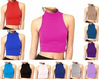 Womens Plain Sleeveless Polo Turtle High Neck Crop Top Ladies Short Stretch Vest