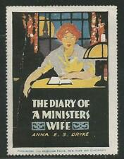 """USA 1914 """"Diary of a Ministers Wife"""" Book Poster Label"""
