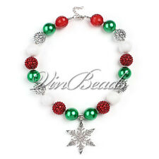 Christmas Style Snowflake Pendant Chunky Bead Bubblegum Gumball For Kid Gift