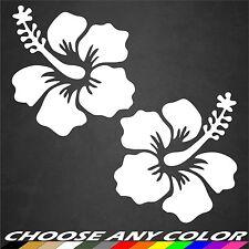 2 Hibiscus Flower Decal White Hawaiian Vinyl Graphics Decal Sticker Car