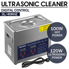 Stainless Steel Industry Ultrasonic Cleaner Equipment 3L Heated Heater w/Timer