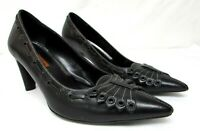 Via Spiga women's size 7.5 M black leather classic pumps high heel pointy toe