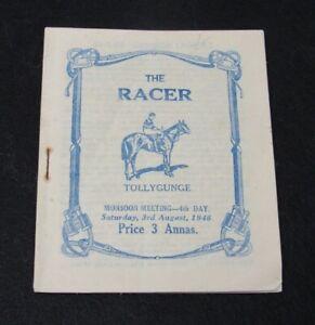 1946 The Racer Horse Racing Program Tollygunge Monsoon Calcutta Kolkata India