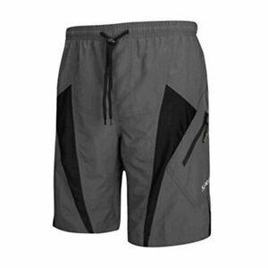 SANTIC Men's Gray & Black Padded Cycling MTB Mountain Biking Shorts Size 2XL
