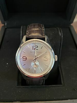 Bell & Ross Vintage Officer Silver Dial Grey Alligator Strap Automatic Watch