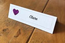 10 Handmade Personalised Wedding Place Name Cards - Many heart colours.