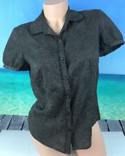 Ann Taylor LOFT Womens Top Blouse Sz 6 Short Sleeve Button Front Brown Work A12