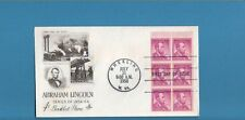 US 1958 President Abraham Lincoln 4c Booklet Pane FDC - Wheeling, West Va.