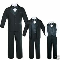 New Infant,Toddler & Boy Jacquard Formal Black Tuxedo Suit S,M,L,XL,2T,3T4T- 20