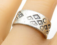 925 Sterling Silver - Vintage Artistic Geometric Decor Band Ring Sz 8 - R5940
