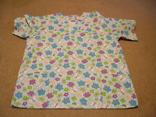LADIES NATURAL UNIFORMS SHORT SLEEVE PULL OVER SCRUB TOP SIZE S SMALL