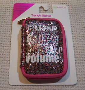 """MiAmica Trendy Techie """"PUMP UP THE VOLUME"""" Earbud Case PINK/MULTI GLITTER ~ NWT"""