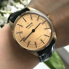 RAKETA Gold Plated Quartz USSR Men Classic 18k PERFECT Wristwatch Engraving 80s