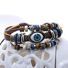 Handmade Punk Unisex Turkish Evil Eye Leather Bracelet Adjustable Wristband