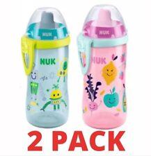 New Kids Toddler NUK FLEXI Water Bottle/Cup Straw 300ml 2 PACK 18 mths+ Boy Girl