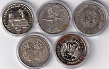 Uk Great Britain Lot Of Five Large Commemorative Eroded Poor Coins