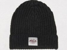 POLO RALPH LAUREN Men's Chunky Ribbed Knit Wool Beanie Hat, Skull Ski Cap, LODEN