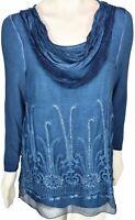 Soft Surroundings Womens Silk Tunic Top Blouse Beaux Arts Size Petite Small Blue