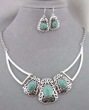 Silver Filigree Filigree With Turquoise Accent Necklace Set Fashion Jewelry NEW