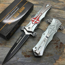 Tac Force Open Assisted Red Cross Overlay Silver Aluminum Handle Pocket Knife
