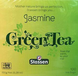 6 / 12 Boxes, Stassen, Jasmine Green Tea, 100 Tea Bags, Quality #1, New Package