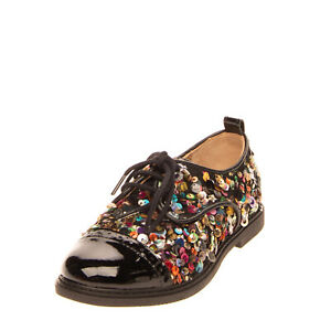 POM D'API Kids Derby Shoes EU 32 UK 1 US 13 Leather Lining Sequins Patent Trim
