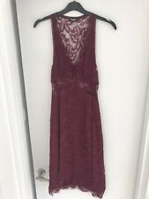 D&G Dolce and Gabbana Burgandy Lace Evening Dress UK 6-8