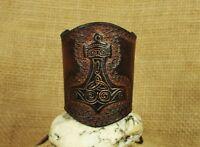 Armband Wikinger Thors Hammer punziert breit Leder braun Stulpe Lederarmband