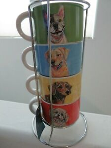 Pier 1 Dogs Stacking Stackable Mugs - NEW ~Dachshund Shih tzu Boston Terrier NEW