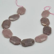 Natural Madagascar Rose Quartz Gemstone Faceted Rectangle Pendant Beads
