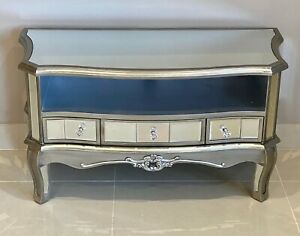 Elegant Mirrored Argente French Style Petite TV Unit Mirrored TV Stand