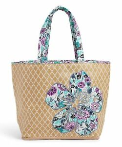 Vera Bradley Straw Beach Tote Bag with Flower *Penelope's Garden* NWT