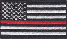 AMERICAN FLAG, BLACK & WHITE w/RED LINE - IRON ON EMBROIDERED PATCH, FIREFIGHTER