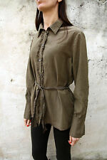 Jeckerson Tunic Belted Casual Shirt Khaki Long Sleeved Italy XL fringed SILK