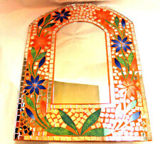Mirror Beautiful Gift Colorfil Floral Orange Blue Mosaic Inlay Wall Decor Arch