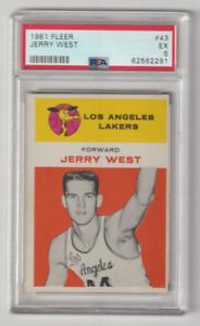 1961-62 FLEER BASKETBALL #43 JERRY WEST ROOKIE RC HOF PSA 5 EX 1961 LA LAKERS