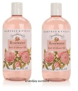 Lot of 2 New Crabtree & Evelyn Rosewater Bath and Shower Gel 16.9 oz  x 2