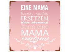 20x20cm METALLSCHILD Türschild EINE MAMA KANN VIELES Muttertag Dekoration Rosa