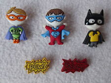 DRESS IT UP BUTTONS ~ BE MY SUPER HERO ~ BATMAN ~ SUPERMAN ~ BOOM! ~ POW!