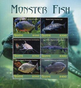 Guyana 2018 MNH Monster Fish Piranha Catfish Sorubim 6v M/S Fishes Marine Stamps