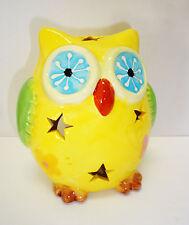 Windlicht Eule gelb / Keramik / Sterne / Teelichthalter
