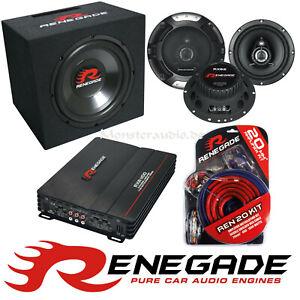 Renegade Set 3 30cm Subwoofer Verstärker Lautsprecher Komplettset car-hifi-set
