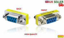 New 9 Pin Female to Female Gender Changer Converter DB9 Serial Adapter RS232 -UK