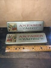 2 Vintage A W Faber Castell Tin Pencil Boxes Hinged Lid #2