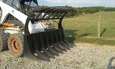 "New Bobcat 72"" HD Root RAKE Grapple 2 Cylinders - Bobcat Attachment"